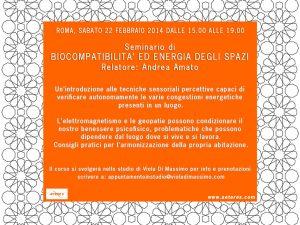 Seminario di Biocompatibilità ed energia degli spazi – Roma 22-02-2014